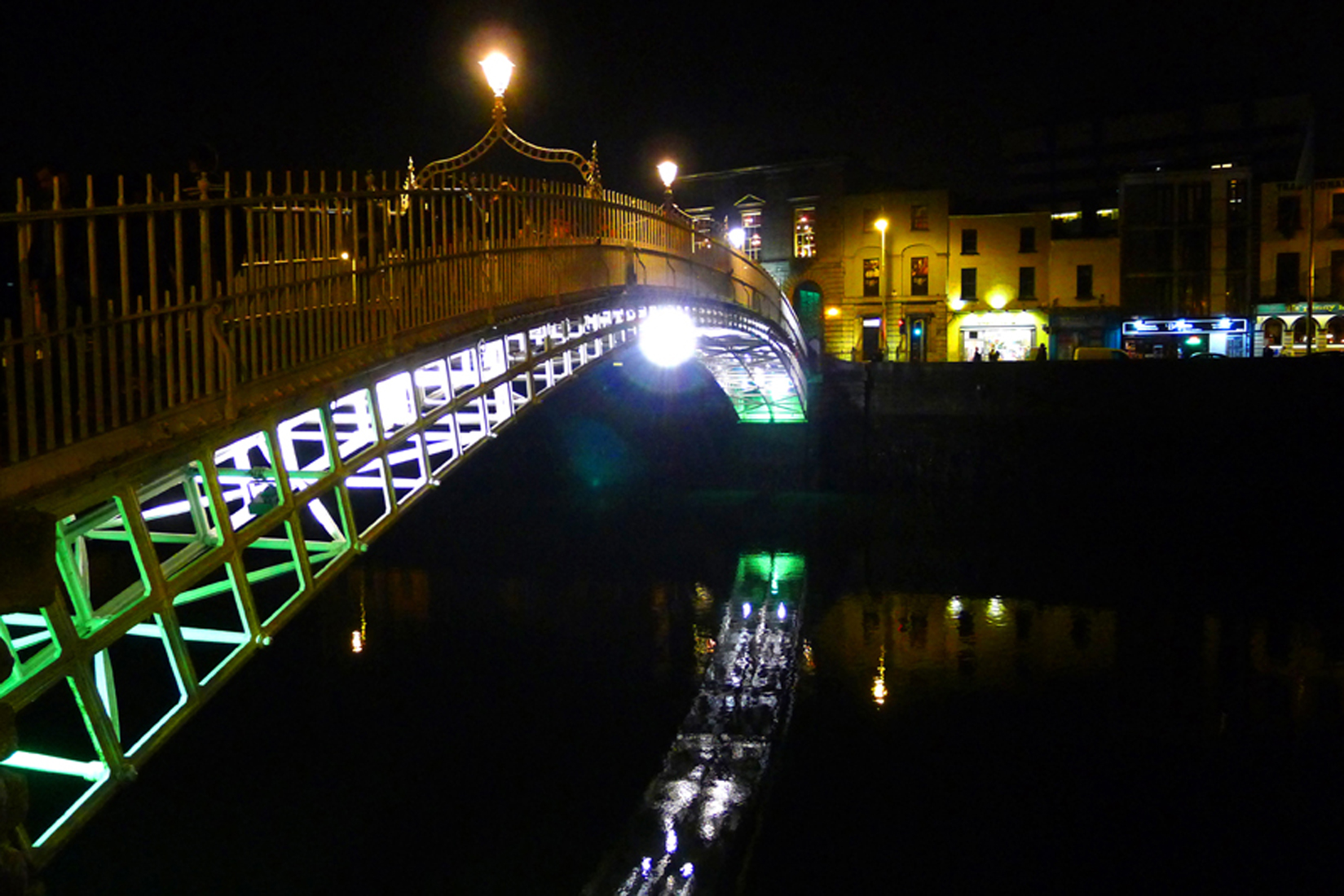 Ha'penny Bridge in Dublin During Halloween