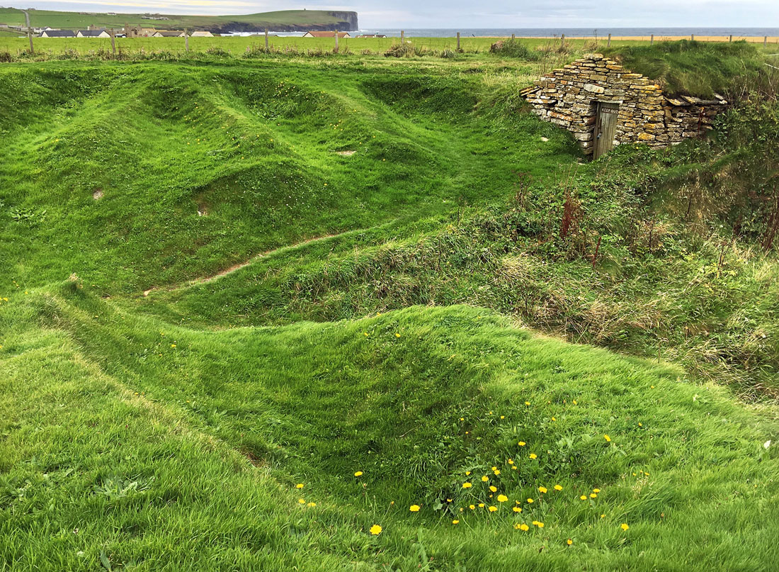 Fisherman's Hut and Nousts at Skibo Geo, Birsay, Mailand, Orkney, Scotland