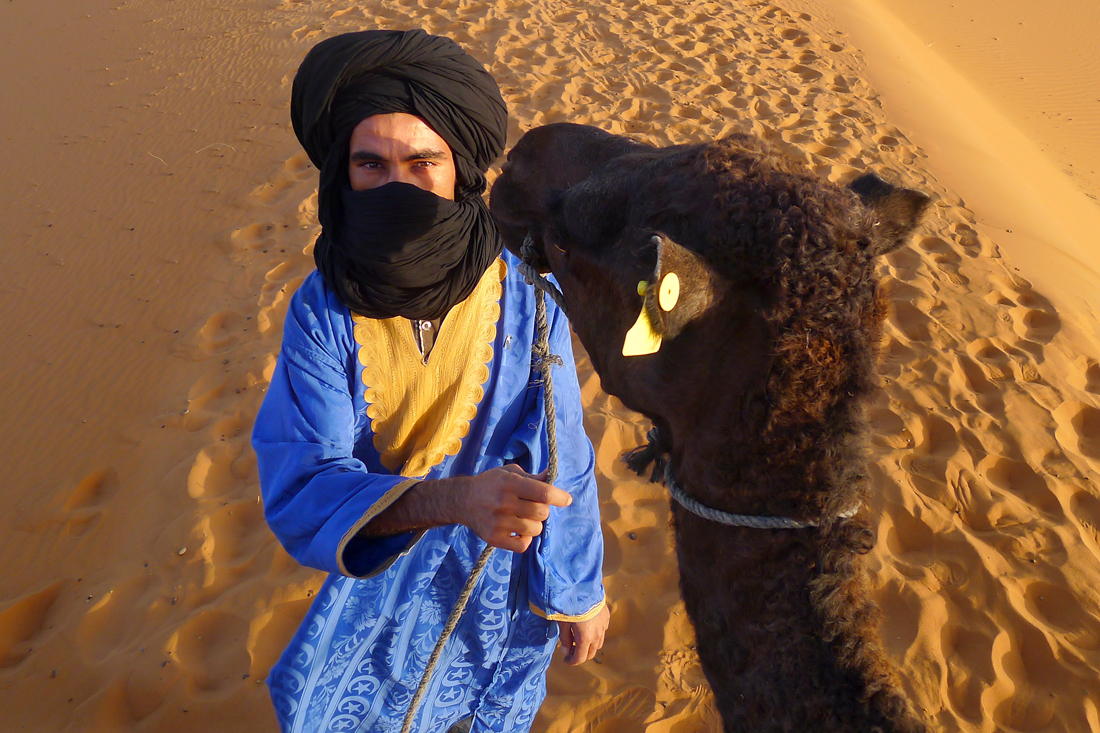 Smiling Tuareg Camel Driver Merzouaga, Erg Chebbi, Sahara, Morocco